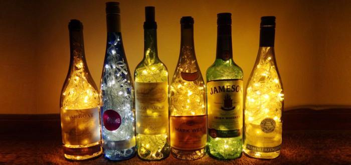 Оригинальный светильник из винной бутылки