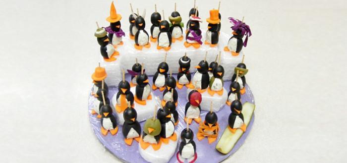 Съедобные пингвины - закуска из сыра и маслин