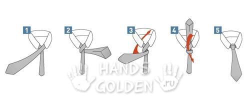 Как завязать галстук - простой узел Four-in-Hand
