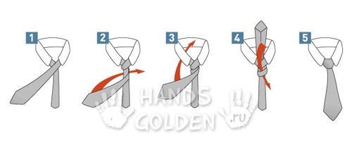 Как завязать галстук - узел принц Альберт (двойной простой)